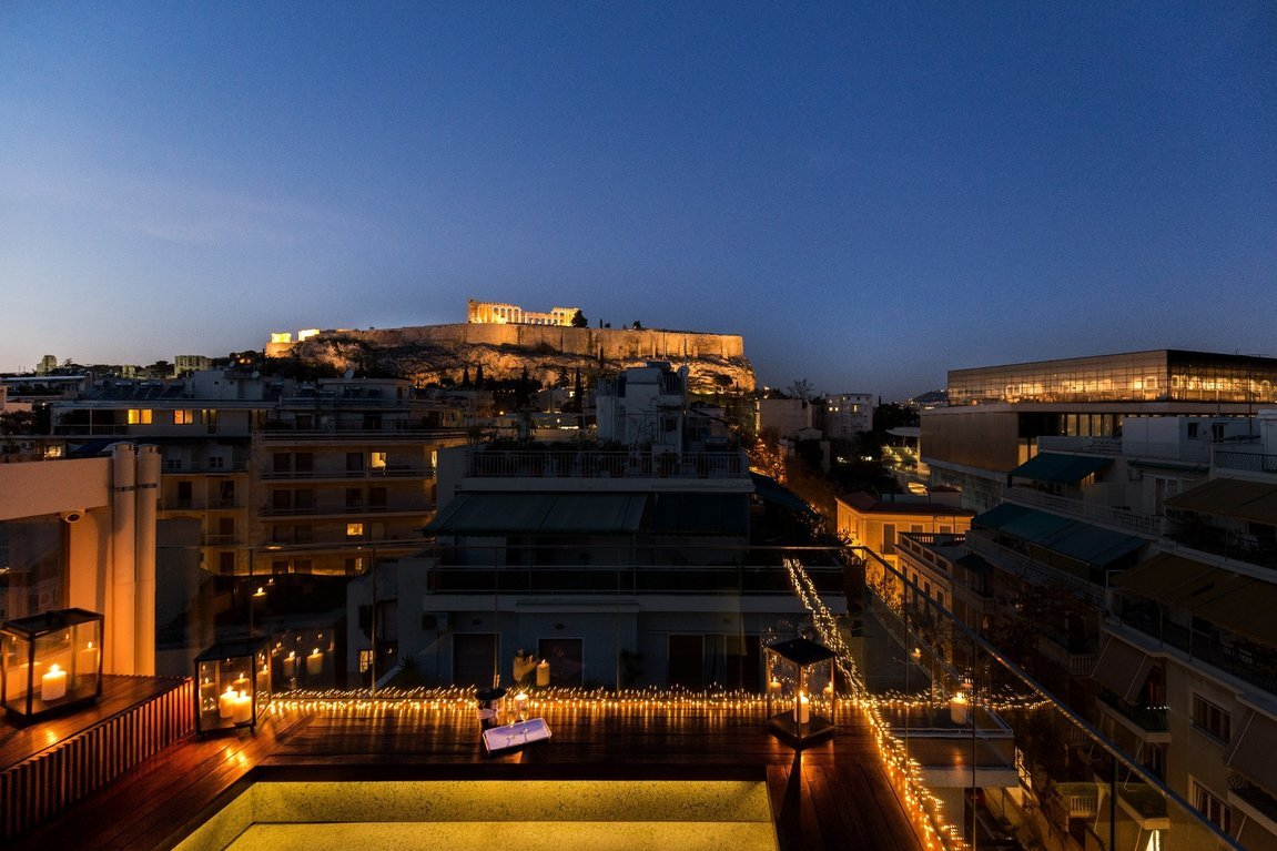 Philippos Hotel_Roof garden_Acropolis view_New Acropolis Museum