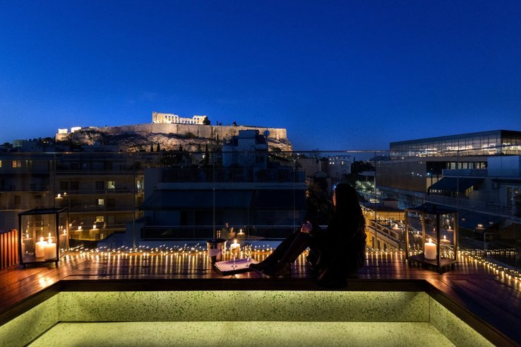 Athens hotel roof terrace